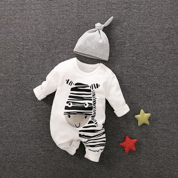 f935bf5236f1 Playful Zebra Long Sleeve Cotton Jumpsuit in White with Hat for Baby and  Newborn