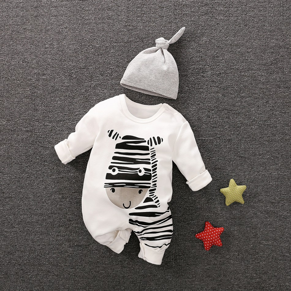 ce6cd31cb0ce Playful Zebra Long Sleeve Cotton Jumpsuit in White with Hat for Baby and  Newborn