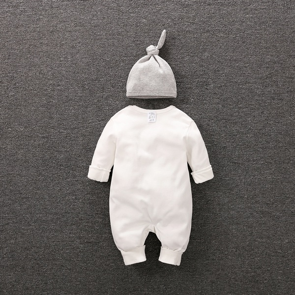 Playful Zebra Long Sleeve Cotton Jumpsuit in White with Hat for Baby and Newborn