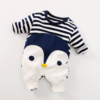 Penguin Print Stripes Long-sleeve Jumpsuit for Baby