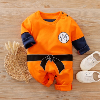 Long-sleeve Kungfu Style Orange One Piece for Baby