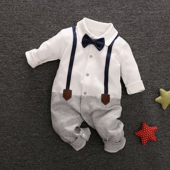 36ad9f0aa75 Baby Boy s Grace Faux-two Long Sleeve Jumpsuit in White