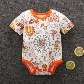 Amusement Park Print Short-sleeve Bodysuit in Assorted Color for Babies