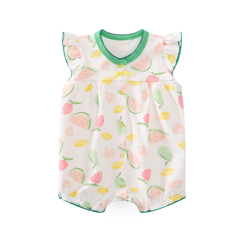ce218dd73a6 Baby Lovely Watermelon Print Ruffled Cap-sleeve Romper for Baby Girl ...