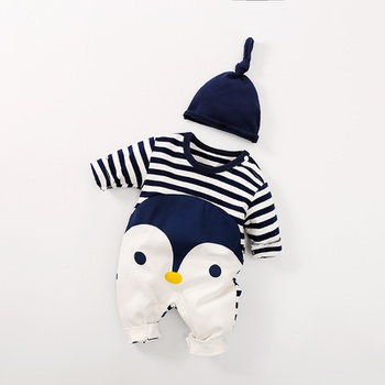 fc631351aaa Lovely Striped Penguin Print Long-sleeve Jumpsuit and Hat Set in Dark Blue  for Baby Boy