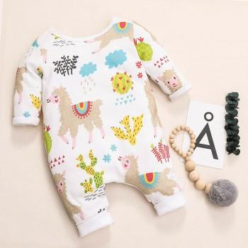 Lovely Lama Printed Long-sleeve Jumpsuit for Baby