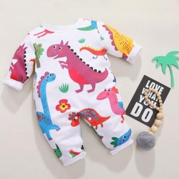 Adorable Dinosaur Printed Long-sleeve Jumpsuit for Baby