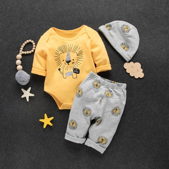 3965fadf0675b 3-piece Baby / Toddler Overlay Lion Print Bodysuit, Pants and Hat Set