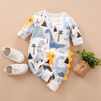 Baby Dinosaur Print Long Sleeves Jumpsuit