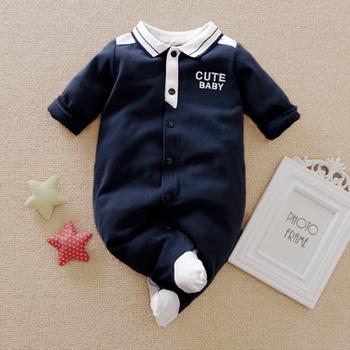 Baby Boy Gentleman Style Polo Collar Long-sleeve Jumpsuit