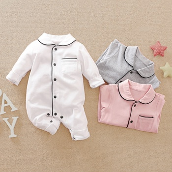 Baby Boy / Girl Newborn Cotton Solid Polo Collar Cardigan Pocket Design Long-sleeve Jumpsuit