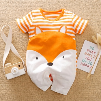 Baby Fox Print Striped Romper