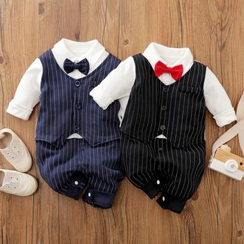 Baby Boy Gentleman Bow tie Striped Jumpsuit