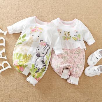Baby Giraffe Zebra Print Ruffled Jumpsuit