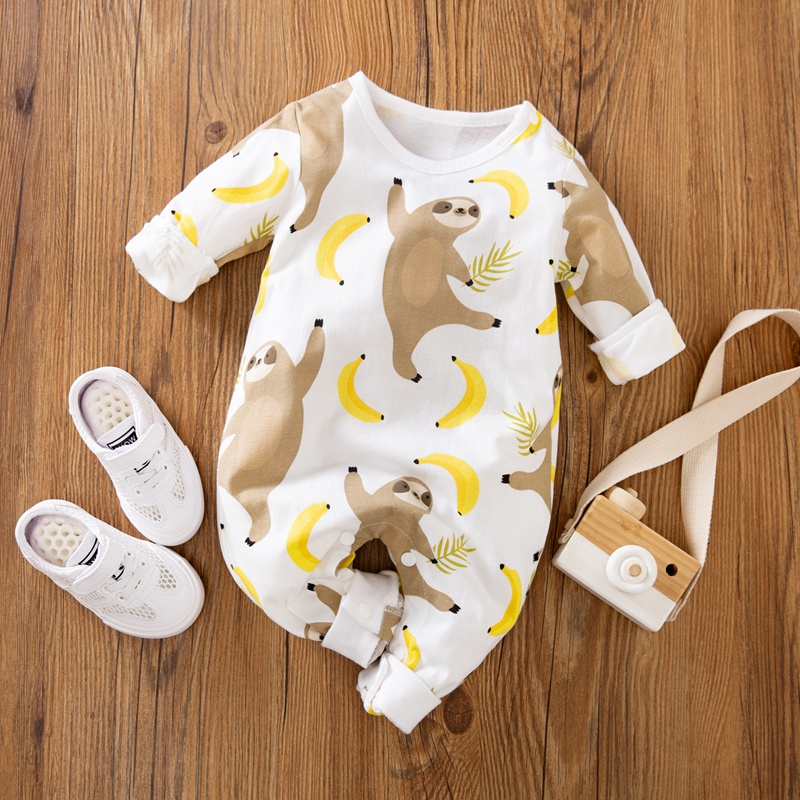 $9.99 (reg $28) Baby Sloth and Banana Allover Longsleeves Jumpsuits from PatPat