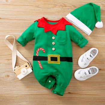 2-piece Baby Christmas Jumpsuit with Hat