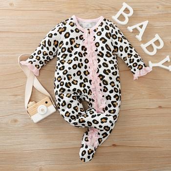Baby Leopard Ruffled Lace Decor Jumpsuit