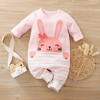 Baby Rabbit Striped Jumpsuit