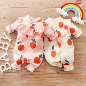 Baby Sweet Orange Ruffled Jumpsuit