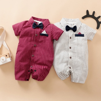 Baby Boy Gentleman Bow Tie Decor Striped Bodysuit