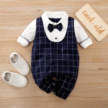 Baby Boy Gentleman Plaid Bowknot Jumpsuit
