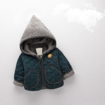 Smiling Face Lovely Hooded Quilt Coat for Infant Boys