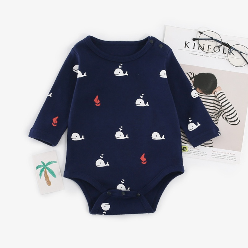 77b6455de857 Baby Lovely Dark Blue Whale Print Long Sleeves Romper for Baby Boy ...