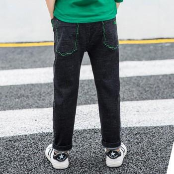 Fashionable Green Embroidered Jeans for Toddler and Kid