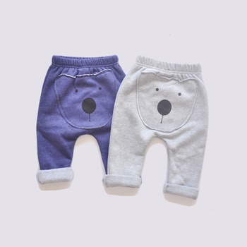 Cute Bear Design Fleece-lining Pants for Baby