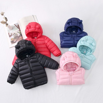 Baby Unisex Sports Coat & Jacket rabbit ears Hooded Autumn Winter Jacket Warm Outerwear Children Wadded jacket Clothes