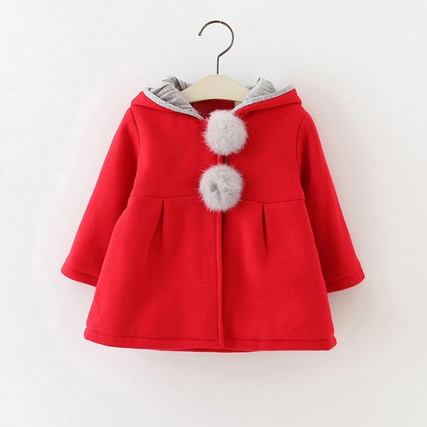Sweet Rabbit Ears Hooded Long-sleeve Coat for Baby Girls