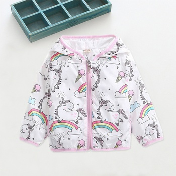 Adorable Allover Unicorn Rainbow Splice Hooded Coat for Baby and Toddler