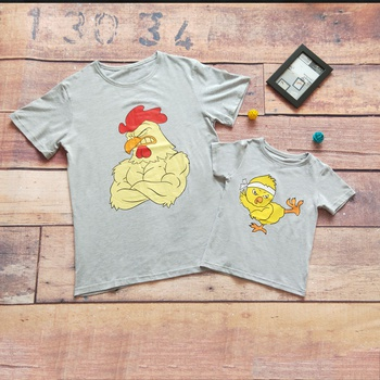 Fun Chicken Print Matching T-shirt for Daddy and Me