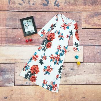 Elegant Floral Allover Bracelet Sleeve Maxi Dress