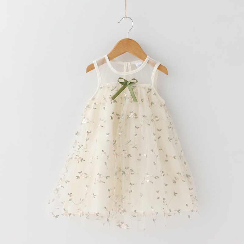 4fcf0ee18 Princess Lace Flower Embroidered Sleeveless Tulle Dress for Toddler Girls