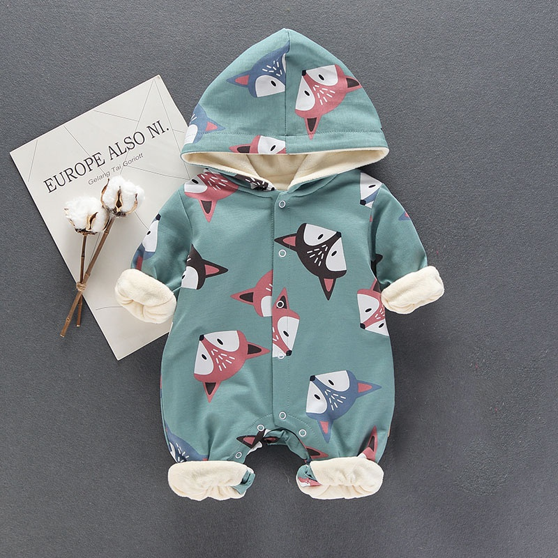 cc8306bb4 Baby Lovely Fox Hooded Long-sleeve Fleece Lining Baby One Piece at ...