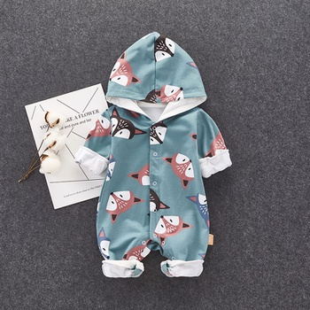 Fashionable Fox Pattern Hooded Jumpsuit for Baby 0cfeda9264da
