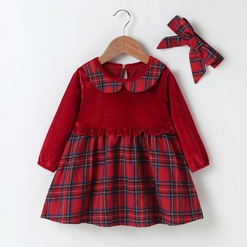 2-pcs Baby Girl Plaid Sweet Dress Cotton Fashion Long Sleeve Infant Clothing Outfits