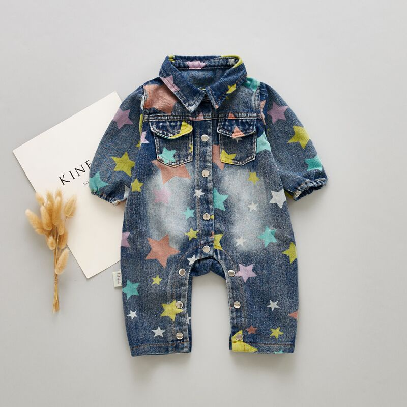 9a7c7f8304 Baby Trendy Star Patterned Denim Jumpsuit for Baby at PatPat.com