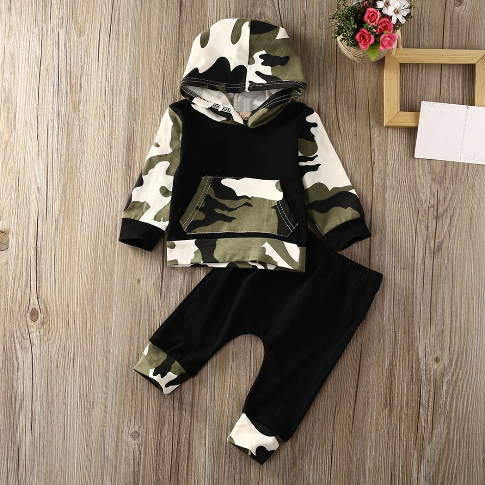 4e8fc267 Baby Cool Camouflage Hooded Long-sleeve Top and Pants Set for Baby ...