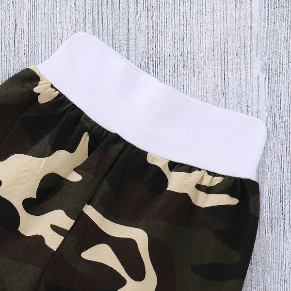 "Handsome 3-piece ""Little Man"" Bodysuit Camouflage Pants and Hat for Baby Boy"
