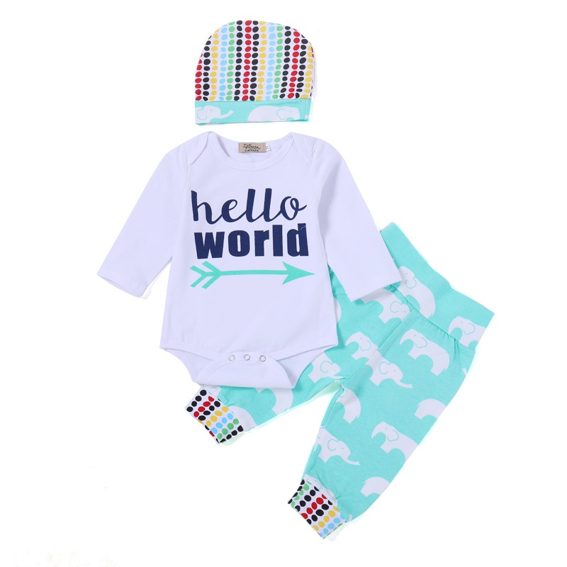 6775411981dc Baby 3-piece Letter Bodysuit Elephant Print Pants and Hat for Baby ...