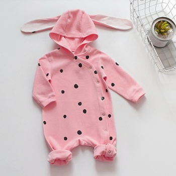 9c0dc50ef Stylish Fox Appliqued Striped Hooded Jumpsuit for Babies