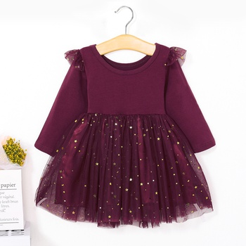 Beautiful Star Appliqued Long-sleeve Mesh Princess Dress