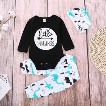 Cute Letter Print Long-sleeve Bodysuit and Dino Pants Set