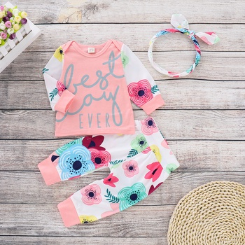 """Beautiful """"Best Day Ever"""" Floral Print Long-sleeve Top, Pants and Headband"""