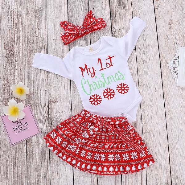3-piece Christmas Patterned Romper, Skirt and Headband Set