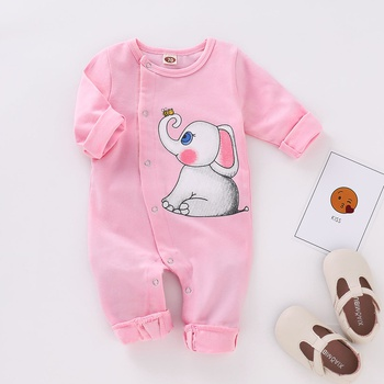 Adorable Elephant Print Long-sleeve Jumpsuit for Baby