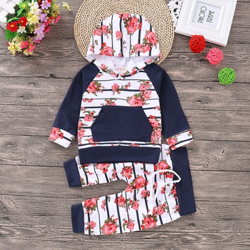 Trendy Rose Print Splice Striped Hoodie and Pants for Baby