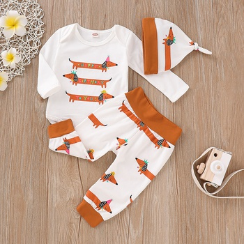 Lovely Dachshund Print Romper, Pants and Hat Set